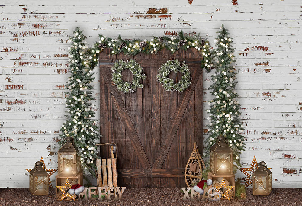 White Wall Wooden Door Christmas Background for Decoration G-1474