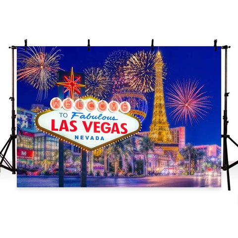 Night Las Vegas City Scenery Fireworks Photo Backdrops G-164
