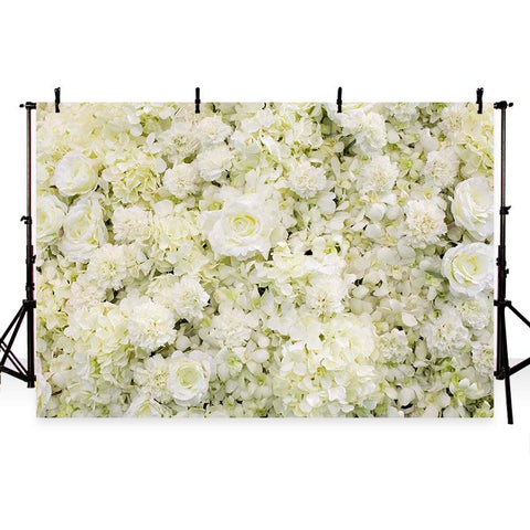 White Flower Wall Photography Backdrop  for Events G-184