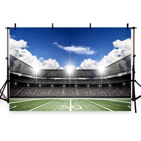 Football Field Green Lawn Spotlight Backdrops for Party  G-260