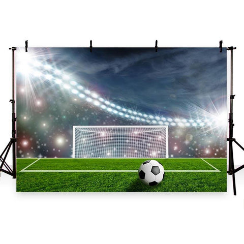Football Field  Night Spotlight Green Grass Backdrop for Party G-265