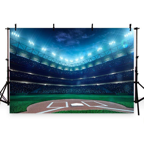 Baseball Ballpark Night Spoitlight Sports Game Stadium Backdrop for Photography G-280
