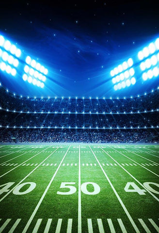 Football Field Spotlights Night Stadium Sports PhotoBackdrops G-296
