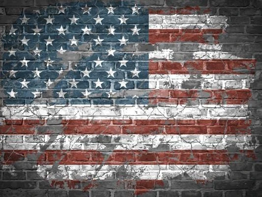 Graffiti American Flag Independence Day Brick  Photography Backdrops G-30