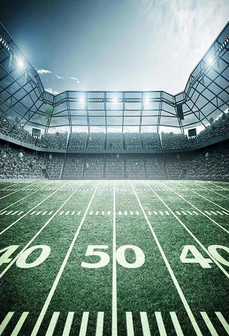 Football Field Green Lawn Stadium Lights Sport Photo Backdrops G-302