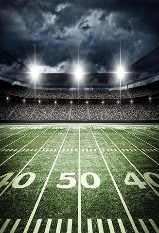 Football Field Backdrop Stadium Lights Green Lawn Background G-305