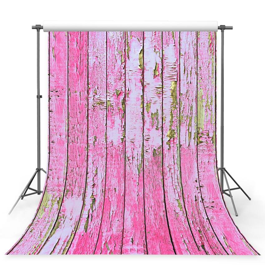 Pink Retro Wooden Backdrops for Children Photography