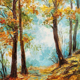 Autumn Yellow Tree Leaves Painting Backdrop for Photography G-448