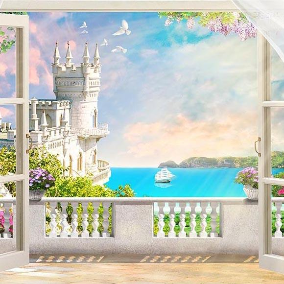 Beautiful Castle Scenery outside the Window Photo Backdrop G-492