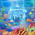 Cartoon Under The Sea Castle Fish Backdrop for Photos G-497