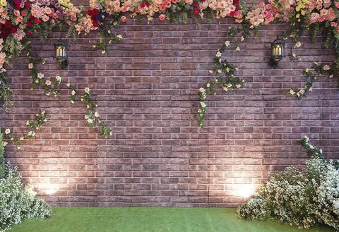 Brick Wall  With Flower Plants Photography Backdrops