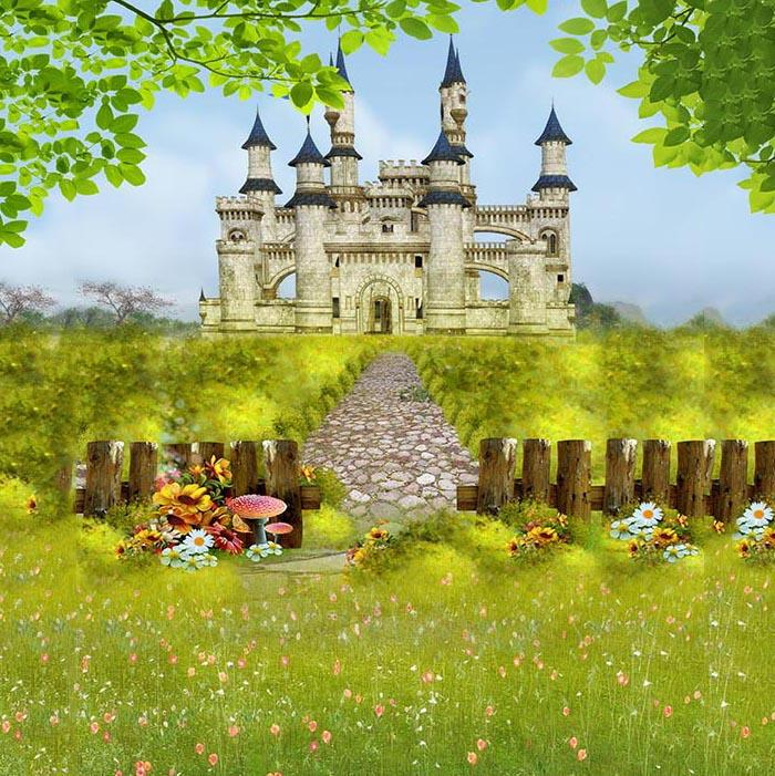 Castle Backdrops Green Grass Spring Flower Photo Backdrop  G-549