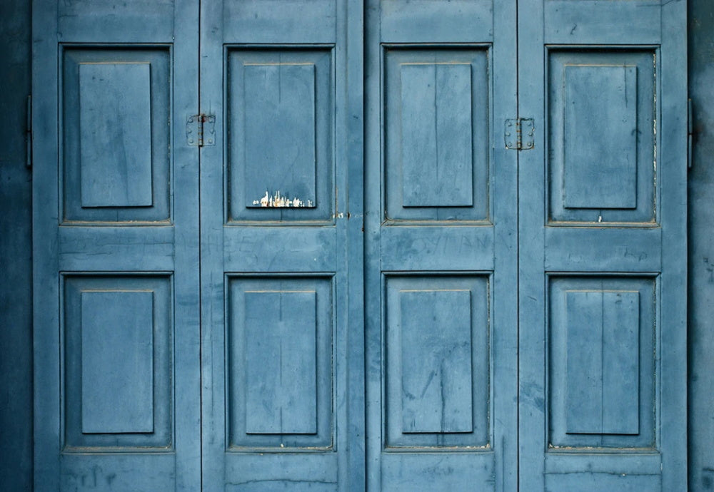 Blue Retro Wood Door Backdrop for Photography G-66