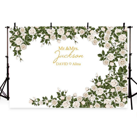 Wedding Backdrops White Background Flowers Backdrops G-766