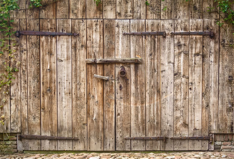 Old Weathered Wooden Barn Door Backdrop for Photo GC-93