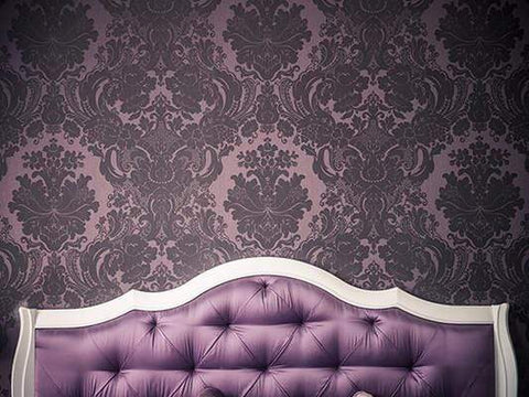 Purple Bedroom Interior Luxurious Bed  Hearboard Backdrop GA-38