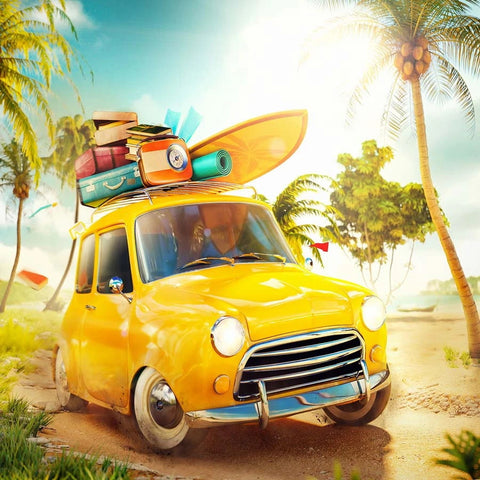 Beach Yellow Car Summer Holiday Photography Backdrop  GA-76