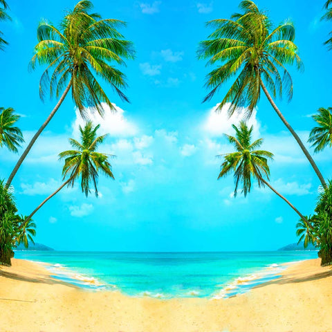 Summer Beach Sea Coconut Tree  Photo Booth Backdrop  GA-77
