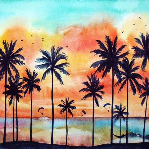 Summer Beach Sunset Coconut Tree Photo Booth Backdrop  GA-78