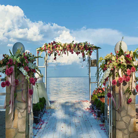 Beach Flowers Wedding Arch Photography Backdrop GA-83