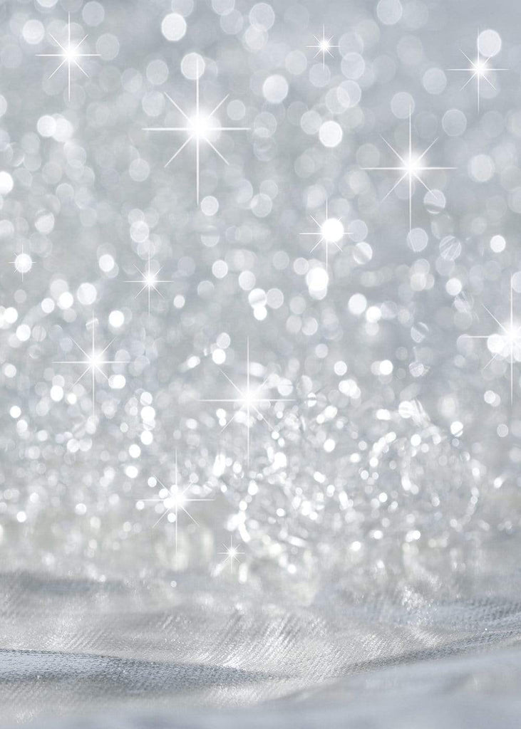 Silver  Stars Glitter Bokeh Bright Backdrop for Photography GC-97
