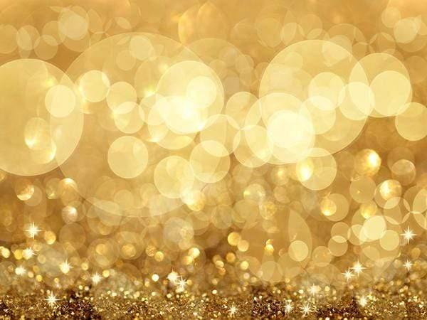 Twinkly Lights and Stars Bokeh Golden Photography Backdrop GC-98