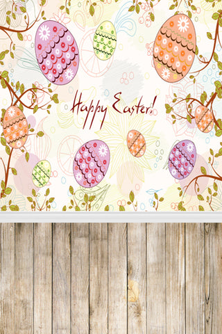 Happy Easter Eggs  With Wood Floor Backdrops for Pictures GE-003