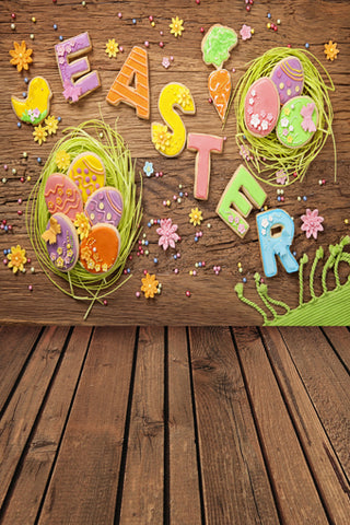 Easter Eggs Brown Wood Wall Backdrops for Studio GE-019