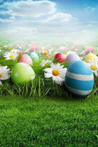 Easter Eggs Spring Flowers Backdrop for Photo Studio GE-032