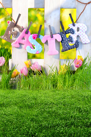 Spring Easter Flowers Grass Photo Studio Backdrop GE-038