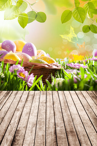 Easter Eggs Flowers Decorations Backdrop for Photography GE-050