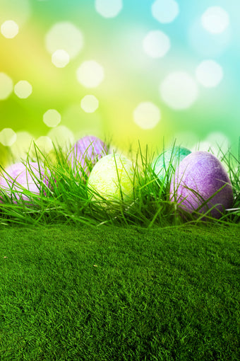 Easter Eggs Flowers Green Grass Backdrop for Party GE-053