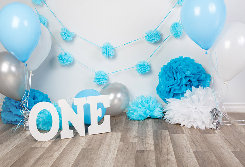 Flower Wall Ballons Blue Background Backdrop for Baby Boy Photography GX-1036