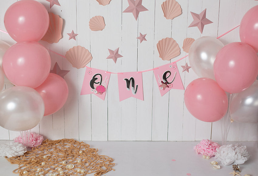White Wood Wall Ballons Pink Backdrop for Baby Girl Birthday Photography GX-1037