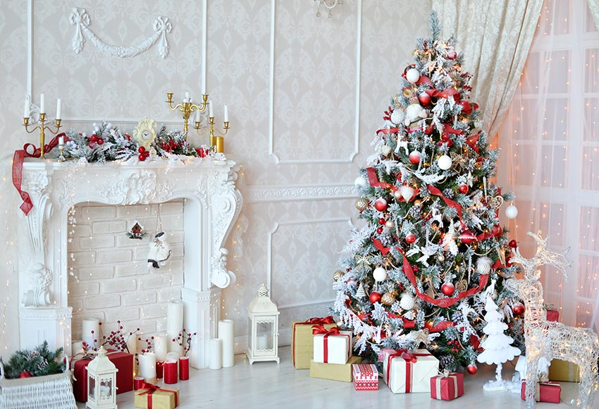 Decorated Fireplace Backdrop for Christmas GX-1048