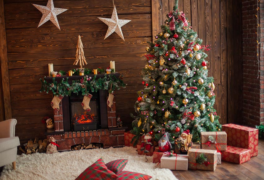 Wooden House Christmas Trees Christmas stockings Backdrop GX-1049