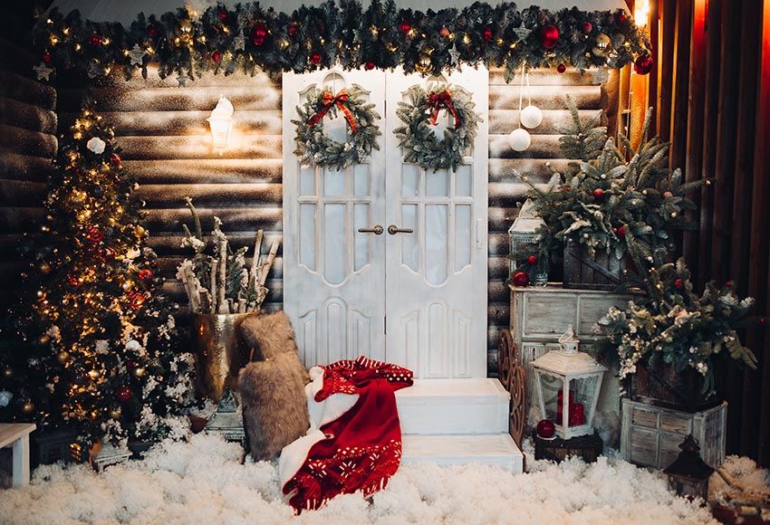 Warm Christmas Trees White Door Background for Decoration GX-1055