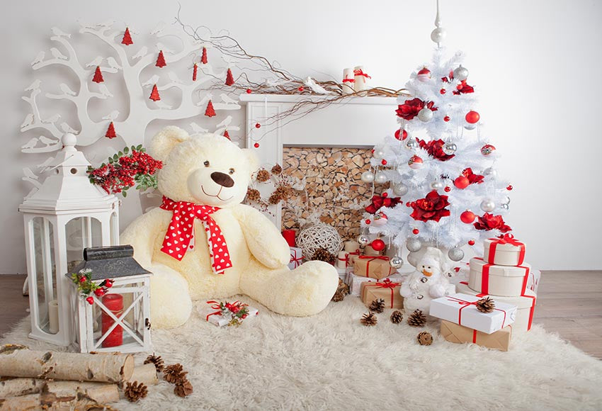 Cute Bear White Christmas Decoration Background for Christmas Party GX-1062