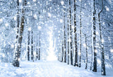 Beautiful White Forest Snow Scene Christmas Backdrops GX-1070