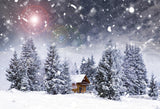 Christmas Trees Small House Background for Decoration GX-1072