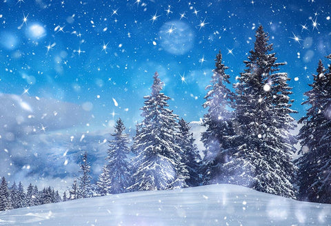 Beautiful Blue Sky Winter Snow Christmas Trees Backdrop GX-1076