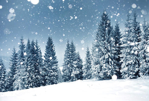 Winter Snow Christmas Trees Backdrop for Photography GX-1077