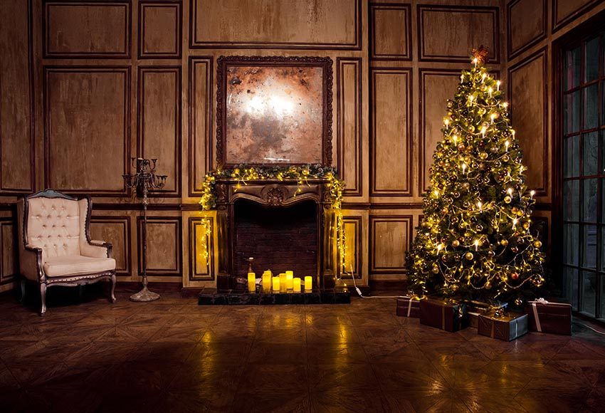 Classicalist Christmas Tree Fireplace Interior Room Decoration Backdrop GX-1099