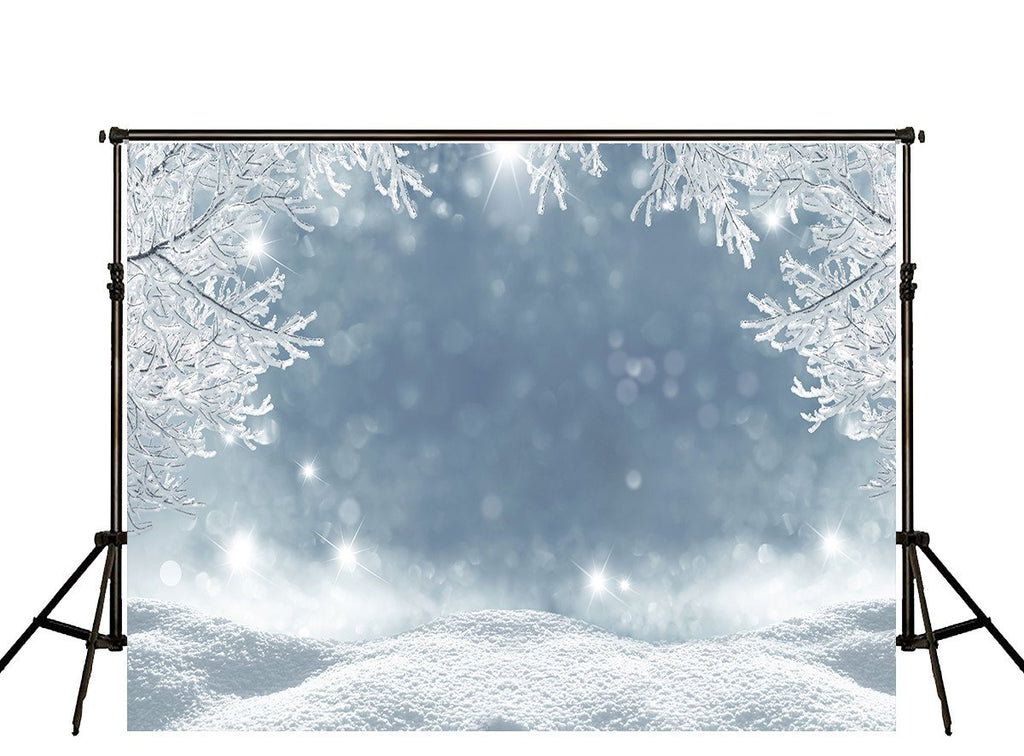 Winter Backdrops Snowy Backdrop Glitter Background HJ02701