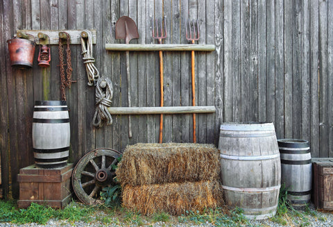 Barn Farm Tools Gray Grunge Wood Wall Backdrops HJ03184