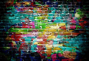 Colorful Brick Wall Backdrops Portrait Photography Backdrops HJ03185