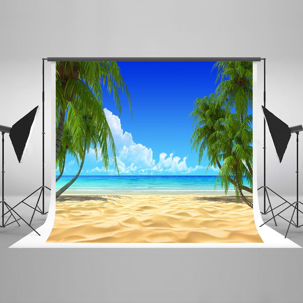 Summer  Beach  Blue Ocean Sky Backdrop HJ03738
