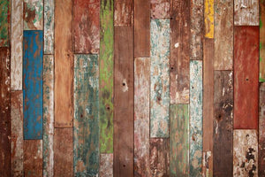 Colorful Splice Wood Backdrops for Pictures HJ03923