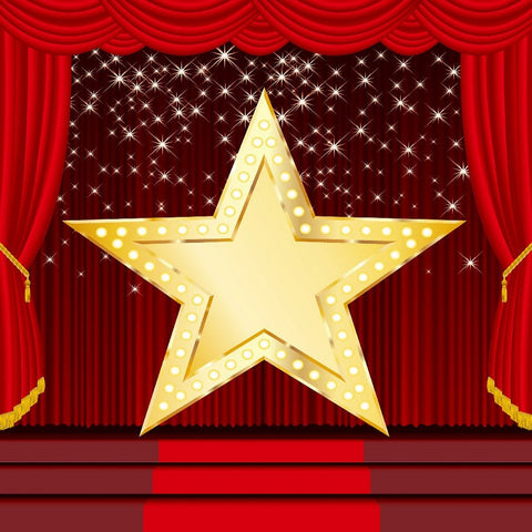 Red Curtain Stage Golden Star  Backdrops for Photo Booth DBD-19424