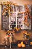 Festival Backdrops Halloween Backdrops Maple Leaves Window Pumpkin Backdrop